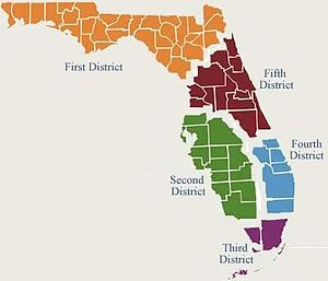 Florida District Courts of Appeal - Map of the jurisdictions of Florida's District Courts of Appeal.