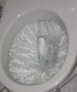 A flushing toilet.