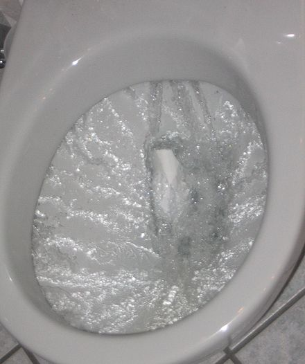 A flush toilet bowl during the flushing action Flushing toilet.jpg