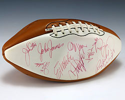 A football signed by 1975 Pro Bowl players