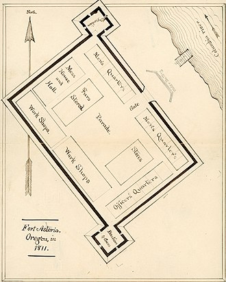 Fort Astoria - The layout of Fort Astoria in 1811.