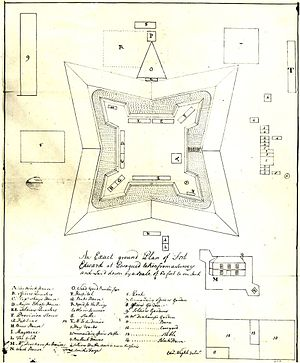 """Fort Edward (Nova Scotia) - Map of Fort Edward 1757 (the remaining blockhouse is located within the walls of the fort and is marked with an """"A"""")"""