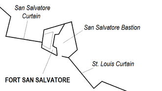 Cottonera Lines - Map of San Salvatore Bastion (including Fort San Salvatore) and the adjoining curtain walls