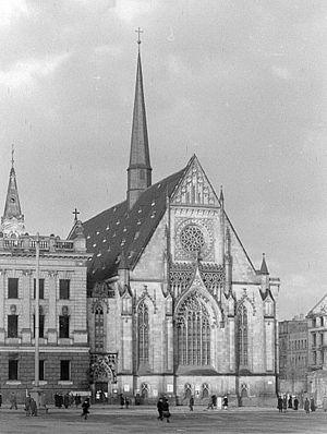 Paulinerkirche, Leipzig - The Paulinerkirche, the university church of Leipzig, view from the Augustusplatz, 1948, facade of Arwed Roßbach