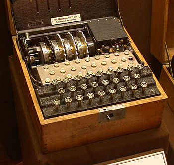 A four rotor Enigma machine.