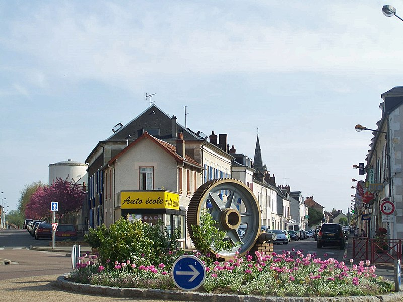 Sight of the French commune of Fourchambault village center, near Nevers in Nièvre.