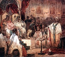A wall painting of the Council of Chalcedon.