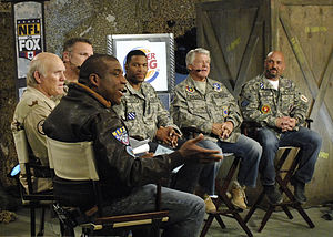 Fox NFL Sunday - Menefee, Bradshaw, Long, Strahan, Johnson, and Glazer at Bagram Airfield in November 2009.