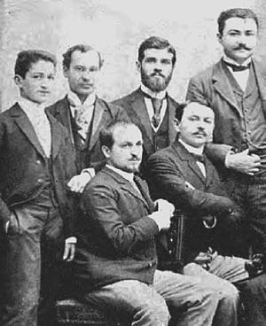 George Diamandy - George Diamandy (first from the left, seated) and brother Constantin (standing behind him), in an 1890 photograph