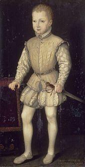Enrico a quattro anni, ritratto durante il soggiorno parigino, opera di François Bunel, 1557 ca.