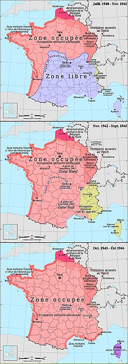 German (pink) and Italian (yellow) occupation zones of France: the zone occupée, the zone libre, the zone interdite, the Military Administration in Belgium and Northern France, and annexed Alsace-Lorraine.