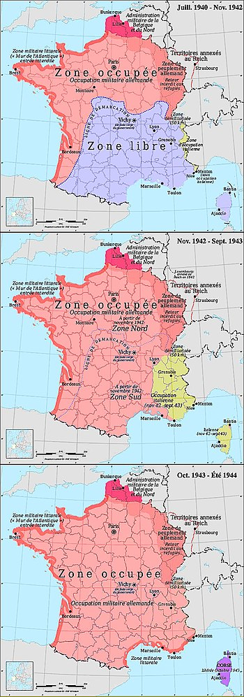 Zones d'occupation en France de 1940 à 1944