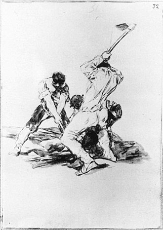 The Forge (Goya) - Three Men Digging, c. 1817. Sepia wash, 206 × 143 mm. Metropolitan Museum of Art, New York
