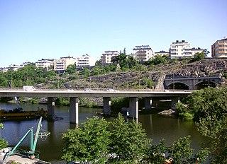 highway bridge between Lilla Essingen and Fredhäll in Stockholm, Sweden