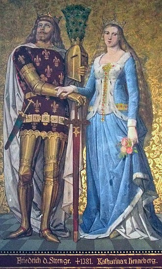 Catherine of Henneberg - Painting of Frederick III and Catherine in the Albrechtsburg in Meissen