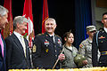 From far left, Secretary of Defense Chuck Hagel, Secretary of the Army John McHugh and Sgt. Maj. of the Army Raymond F. Chandler III prepare to take part in a cake cutting ceremony June 13, 2013, at the Pentagon 130613-A-AO884-084.jpg