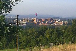 A Fun Fest balloon floats over Kingsport, Tennessee