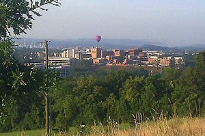 Kingsport, Tennessee - A Fun Fest balloon floats over Kingsport, Tennessee