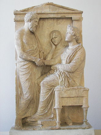 Grave relief of Thraseas and Euandria - Image: Funerary stele of Thrasea and Euandria 02