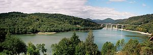 Fužine, Croatia - Lake Bajer is spanned by the Bajer Bridge that carries the A6 motorway traffic.