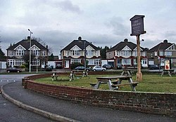 Garden of New River Arms, with pub sign and houses in High Road, Turnford, in background - geograph.org.uk - 99087.jpg