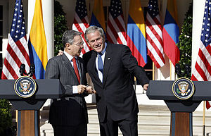 Colombia–United States relations - George W. Bush with Uribe, during visit of former President of Colombia, in the United States.