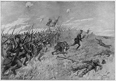 French bayonet charge, 1914; huge casualties in the early months of the war had to be replaced by French colonial troops. Georges Scott, A la baionnette !.jpg