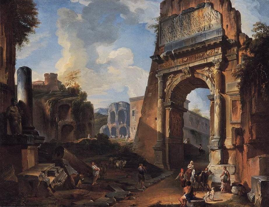 Giovanni Paolo Pannini - Ideal Landscape with the Titus Arch - WGA16970
