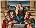 Giovanni di Andrea de magistris (bottega), madonna in trono tra i ss. romolo e rocco, 1539, 02.jpg