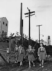 Five girls scouts in uniform. Two adult women in scout uniform watch over them. Behind them is a barbed wire fence, and in the background is an industrial building with a tall smoke stack.
