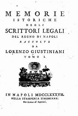 Giustiniani, Lorenzo – Memorie istoriche degli scrittori legali del regno di Napoli, 1787 – BEIC 14298329.jpg