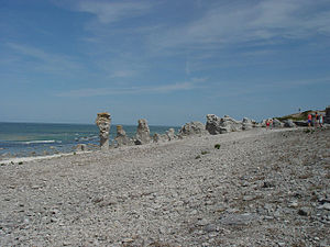 Beach with rock formations
