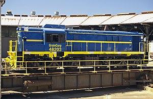 Junee Roundhouse Railway Museum - GrainCorp's 48203 at Junee Locomotive Depot in March 2011