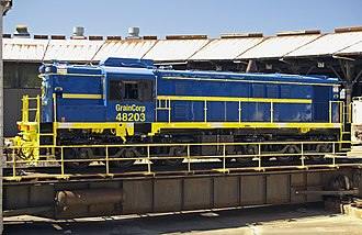New South Wales 48 class locomotive - GrainCorp's 48203 at Junee Locomotive Depot in March 2011