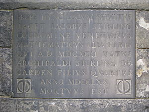 James Stirling (mathematician) - Stirling's grave in Greyfriars Kirkyard, Edinburgh, detail