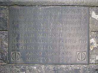 James Stirling (mathematician) - Stirling's grave in Greyfriars Kirkyard, Edinburgh, detail