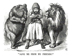 "Counterintelligence - Political cartoon depicting the Afghan Emir Sher Ali with his ""friends"" the Russian Bear and British Lion (1878). The Great Game saw the rise of systematic espionage and surveillance throughout the region by both powers."