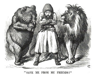 "Counterintelligence - Political cartoon depicting the Afghan Emir Sher Ali with his ""friends"" the Russian Bear and British Lion (1878). The Great Game saw the rise of systematic espionage and surveillance throughout the region by both powers"