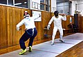 Greek Epee Fencers. Agapitos Papadimitriou (left). First phase of an attack.jpg