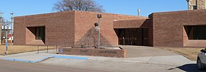 Greeley County, Kansas courthouse W entrance.JPG