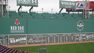 Green Monster - The Green Monster as seen from the grandstand section on September 5, 2006. The ladder is visible to the right of the Red Sox Foundation logo.