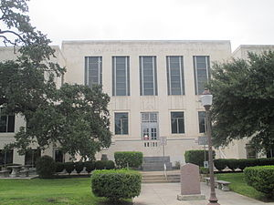 Guadalupe County Courthouse, 1936, in Art Deco style by Lewis Wirtz and Harold Calhoun Guadalupe County, TX, Courthouse in Seguin IMG 8159.JPG