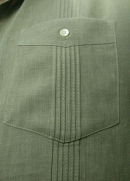 db29f9c2 Closeup of a pocket on a Cuban guayabera, showing the button and aligned  alforzas
