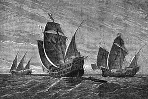 Carrack - Columbus' Ships (G.A. Closs, 1892): The Santa Maria and Pinta are shown as carracks; the Niña (left), as a caravel.