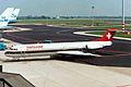 HB-IVK Fokker 100 Swissair AMS 23JUL92 (6877715731).jpg