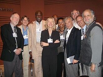 Tukufu Zuberi - The Human Equality and Respect Council at the World Economic Forum, 2008. From left: Dennis Frank Thompson, Conor Gearty, Tukufu Zuberi, Amy Gutmann, Pumla Gobodo-Madikizela, Elie Wiesel, Thomas Sugrue, Dru C. Gladney, Homi K. Bhabha