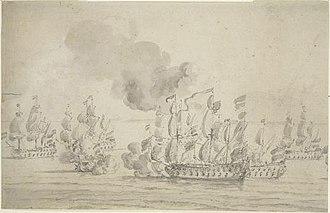 HMS Kingfisher (1675) - Image: HMS 'Kingfisher's action against seven Algerine ships