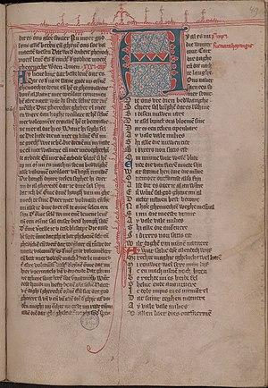 Hadewijch - Medieval manuscript page of a Hadewijch poem