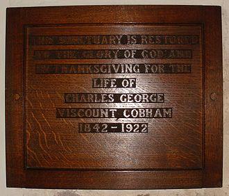 Charles Lyttelton, 8th Viscount Cobham - St John the Baptist Church, Hagley, wooden memorial tablet to the 8th Viscount Cobham