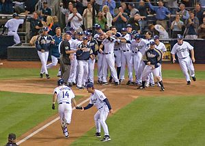 Walk-off home run - Scott Hairston about to celebrate with teammates at home plate after hitting a game-winning home run for the San Diego Padres in 2007.
